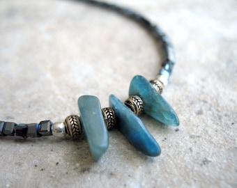 Kyanite Men Necklace, Chakra Pendant, Blue Gemstone, Jewelry for Guys, Kyanite Gift, Natural Kyanite