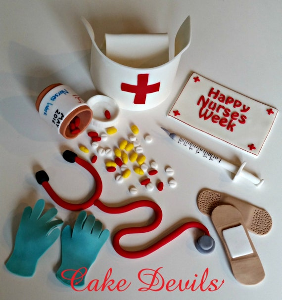 Cake Decorating Medical Theme : Nurse, Stethocope, Pill Bottle, Medical Cake Topper Kit ...