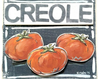 2D Creole Tomato Art: Wood Sign, New Orleans Art, New Orleans Gift, Kitchen Art, Home Art, NOLA Art, Southern Kitchen
