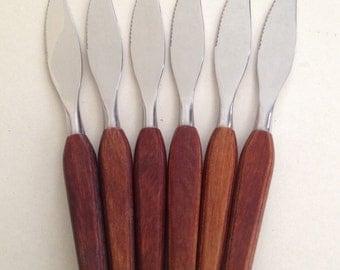 Vintage Teak Knives, Set of 6, Mid Century Modern, 1960s, Stainless Steel, Slightly Serrated Blades, Fleetwood