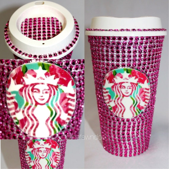 Lilly Pulitzer Inspired Starbucks Logo Pink Crystal By