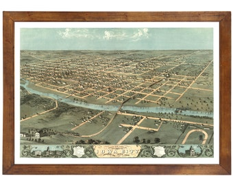 Iowa City, IA 1868 Bird's Eye View; 24x36 Print from a Vintage Lithograph