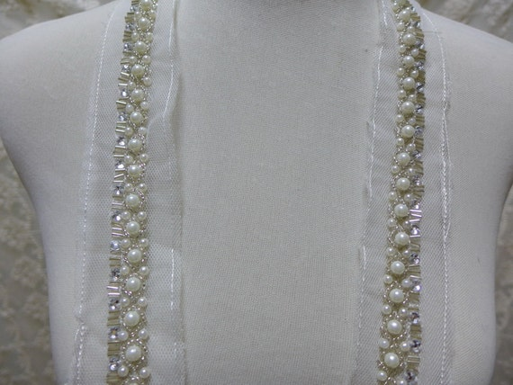 Pearl beaded trim lace for bridal sash wedding gown for Wedding dress trim beading
