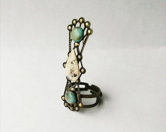 Turquoise Ring Boho Jewelry Gifts For Her Polymer Clay Jewelry Resin Handmade Mothers Day Gift Ideas
