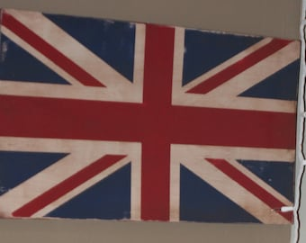 Union Jack Wood Sign -  United Kingdom - primitive vintage rustic distressed