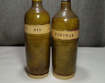 Made to Order* Ceramic olive oil cruet, stoneware oil pourer, pottery oil bottle, oil and vinegar ceramic bottle, Sage-Olive Green