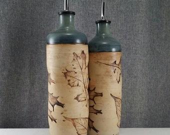 Made to Order 7-12** Ceramic olive oil cruet, stoneware oil pourer, pottery oil bottle, oil and vinegar ceramic bottle, Coral Blue/ Leafs