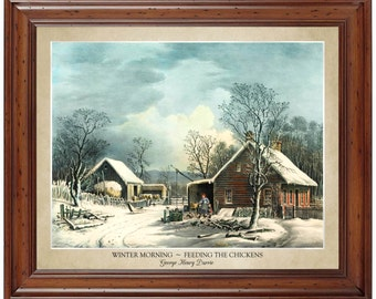 Winter Morning - Feeding the Chickens by George Henry Durrie; 16x20 print showing the artist's name and title of the painting