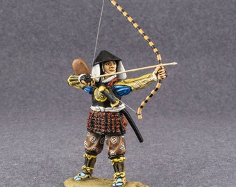 Action Figurines Bowman Ashigaru 1/32 Hand Painted Medieval Japan Tin Metal Miniature 54mm Toy Soldier Collectible