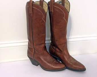 VINTAGE COWBOY BOOTS - Vintage Brown Leather Cowboy Boots - Heeled Leather Cowboy Boots - Congnac Leather - Size 6-1/2 M