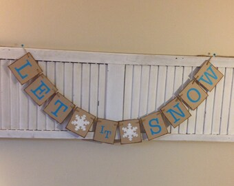 Let it Snow Banner Sign Bunting Garland Aqua White Glitter Snowflake