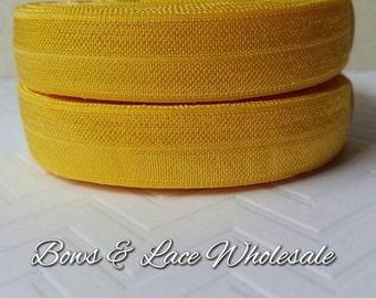 2, 3, 4, 5 or 10 yards Yellow Gold Fold over elastic, FOE. Headbands, Hair ties, DIY, Crafts, Hair accessories