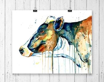 COW 2 PRINT, cow art, cow watercolour, cow painting, farm art, dairy cow, cowgirl art, cowboy art, dairy cow print, farm print, cow portrait