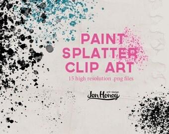 Paint Splatter Digital Clip Art & Photoshop Brushes
