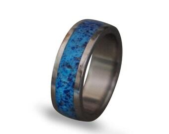 Glow In The Dark Ring, Titanium Men's Ring, Lapis Lazuli and Glow In The Dark Powder Ring