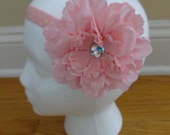 Shabby Chic Flower Headband With Lace and Pearl Accent