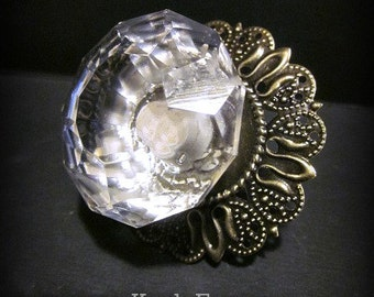 Set of 6~Glass Diamond Cut Knobs with Backplate~ More or Less Available
