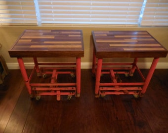 Pair of Industrial end tables