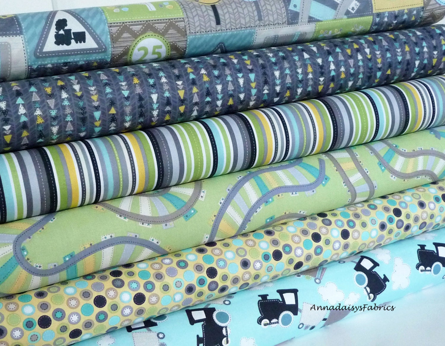 Baby quilt train fabric bundle kanvas studio all aboard for Train fabric by the yard