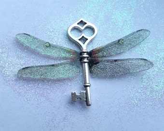 Magical Dragonfly wing key pendant