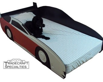 Sportscar twin kids bed frame - handcrafted - race car themed children's bedroom furniture