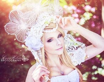SALE**** Ready to Ship beautiful Wedding Headpiece Angel pearl Flowers Karneval Rio Burlesque Headdress Trim