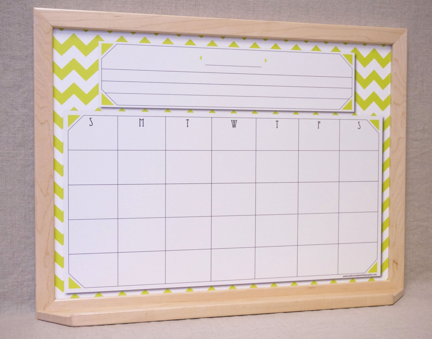 Framed Wall Calendar framed whiteboard calendar chartreuse/white chevron framed