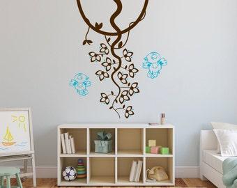 Vine, Leaves, & Birds Vinyl Wall Decal for Home Decor