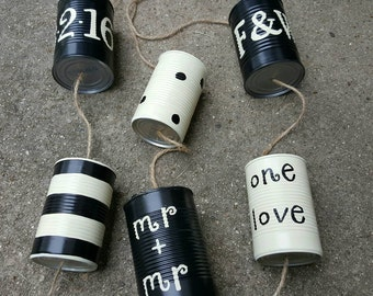 6 LGBT Wedding Car Tin Cans (ANY COLOR) - Gay Couple - Lesbian Couple- Wedding Traditions - Up-cycled Wedding- Repurposed Cans