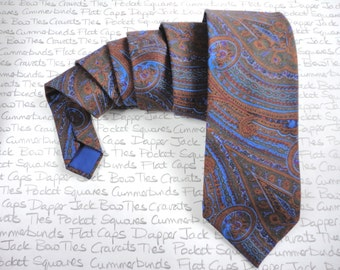 Paisley Print Tie, brown and blue liberty art cotton print.