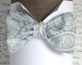 Self tie bow tie, pale blue paisley bow tie, bow ties for men, wedding bow tie, groomsmen bow tie