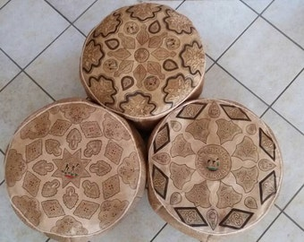 # Sale # Moroccan leather pouf 50 cm x 30 cm