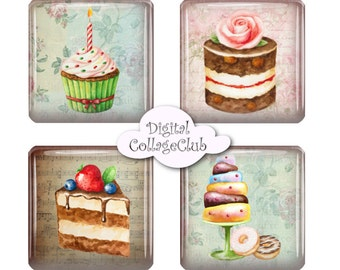 Shabby Chic Cupcake 1 inch Digital Collage Sheet Scrable Tiles Square Digital Images for Pendants, Scrapbooking, Decoupage