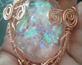 Large copper wire wrapped resin faux opal