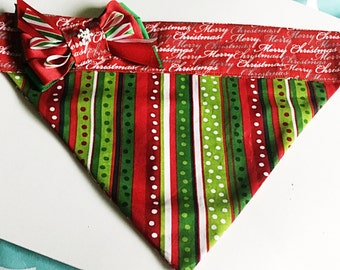 Red & Green Merry Christmas  Dog and Cat Bandana With or Without Embroidered Name