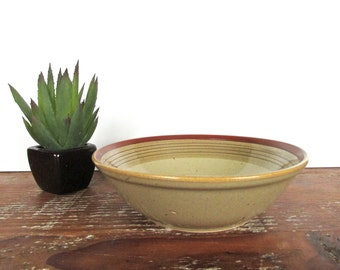 Mikasa Potters Art Salad Bowl, Vintage Ben Seibel Country Cabin Stoneware Soup Bowl