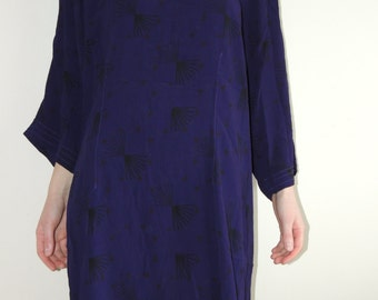 Vintage UNO Dark Purple Tunic/dress with black print, oversize, Danish design