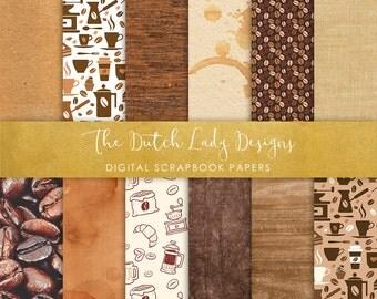 Digital Scrapbook Paper - Coffee Break - 12 papers in .JPEG Files - INSTANT DOWNLOAD