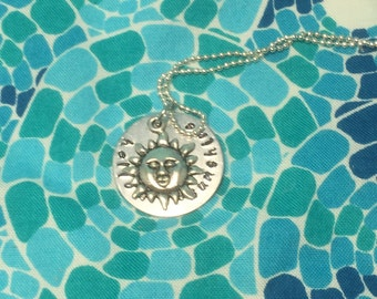 Hello Sunshine Hand stamped necklace with charm