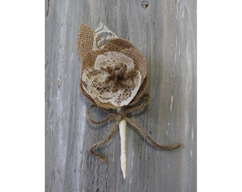 Rustic Boutonniere Groom Boutonniere Groomsman Boutonniere Corsage Pin Mens Wedding Boutonniere  Wedding Accessories Ivory Boutonniere