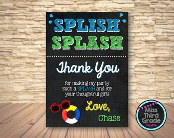 Pool Party Thank You Invitation // Printable Pool Party Birthday Invitation