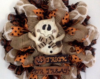 Friendly Ghost Trick or Treat Halloween Deco Mesh Wreath