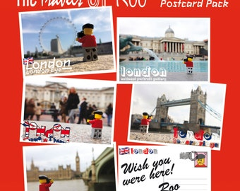 The Travels of Roo: London Postcard Pack (Free UK P&P) (5 Postcards) - LEGO® Art, by Little Big Art