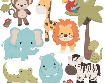 Cute Vintage Jungle Animal Clipart - Cute Safari Clipart, Jungle Animal Vectors, Safari Animal Vectors, Monkey Clipart, Elephant Clipart