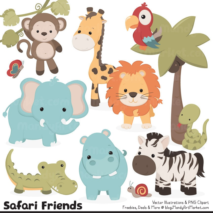 Cute Vintage Jungle Animal Clipart Cute Safari Clipart