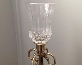 Vintage diamond cut votive, clear crystal votive, diamond cut sconce candleholder, Diamond cut sconce candle holder