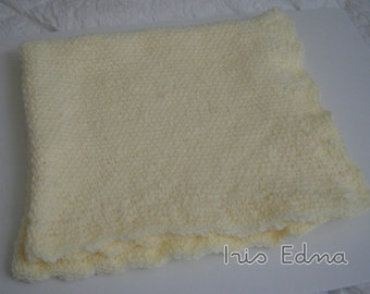 Yellow Hand Crocheted Baby Afghan / Yellow Crochet Baby Blanket/ Baby Blanket