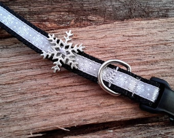 Silver Snowflake dog collar for your Extra Small Dog