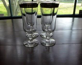 Vintage Midcentury  St of 4 Stemware / Parfait Glasses W Silver Rim Excellent!