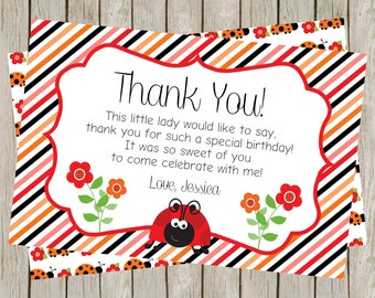 Little Lady Thank You Card, Ladybug Thank You Card, Ladybug Birthday, Ladybug Party, Red & Black, Ladybugs (4x6)